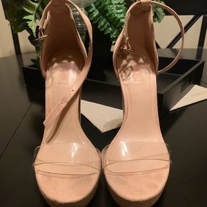 Shoes - Tan and Clear Platforms